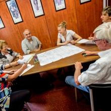 A staff meeting